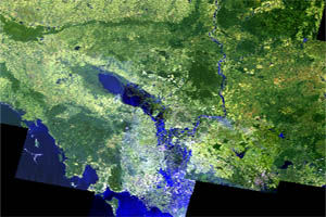 Cambodia Landsat Mosaic 2014. 30m resolution. Bands 763 Only.